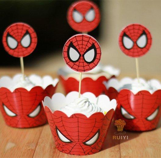 =優生活=烘焙包裝紙杯蛋糕 蛋糕裝飾 插牌圍邊+插牌裝飾 派對用品 兒童生日 彌月蛋糕 收綖蛋糕【 蜘蛛俠】