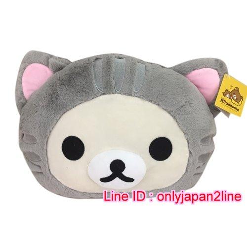 【真愛日本】16101500009頭型抱枕-奶熊變裝貓   拉拉熊 Rilakkuma 抱枕 靠枕 娃娃