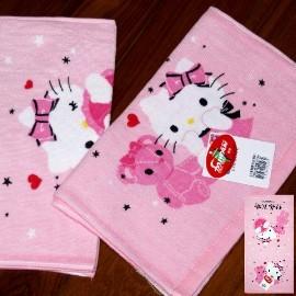 超夯熱門卡通兒童毛巾系列╭*日本SANRIO ~HELLO KITTY貓印花童巾 _粉色玩具熊
