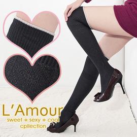 【esoxshop】╭*L'Amour 時尚極限 金蔥配條編織圖騰膝上襪╭* 甜美性感款《褲襪褲/造型襪/膝上襪》