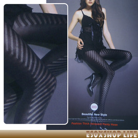 【esoxshop】ZDOM 300D鏤空花紋厚款天鵝絨褲襪_正面斜紋╭*秋冬時尚《彈性褲襪/造型褲襪》