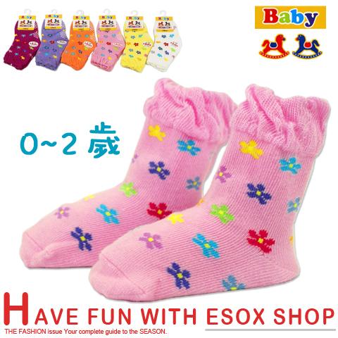 【esoxshop】精梳棉 荷葉邊止滑寶寶襪 小花款 台灣製 宜羿