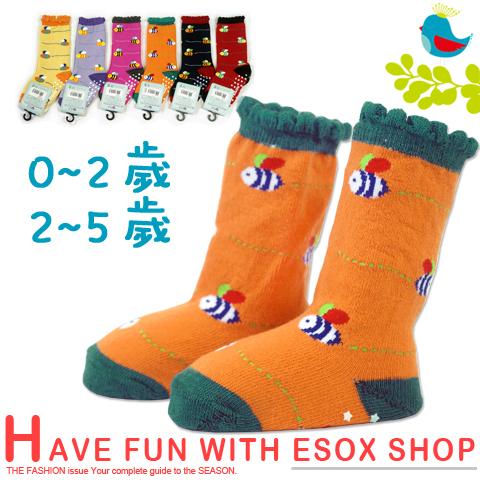 【esoxshop】長筒止滑寶寶襪 蜜蜂虛線款 台灣製 pb