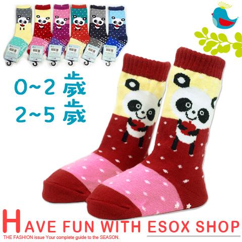 【esoxshop】長筒止滑寶寶襪 蘋果熊貓款 台灣製 pb