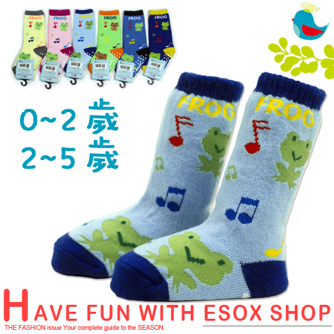 【esoxshop】長筒止滑寶寶襪 音符青蛙款 台灣製 pb