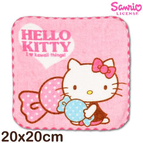 【esoxshop】Sanrio 凱蒂貓窯花小手巾 糖果款 台灣製造好安心 三麗鷗 Hello kitty 方巾 手帕 兒童毛巾