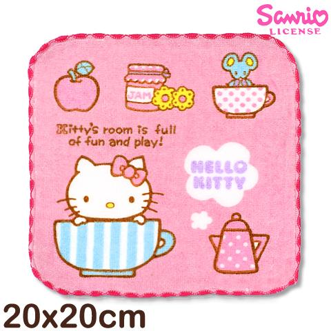 【esoxshop】Sanrio 凱蒂貓窯花小手巾-條紋咖啡杯│MIT台灣製造好安心《三麗鷗/Hello kitty/方巾/澡巾/手帕/兒童毛巾》
