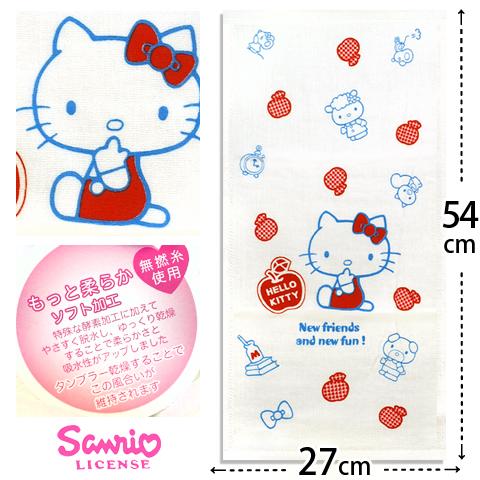 【esoxshop】Sanrio Kitty紗蘿童巾-格紋紅衣│正版授權《紗布童巾/凱蒂貓/Hello Kitty/兒童毛巾》