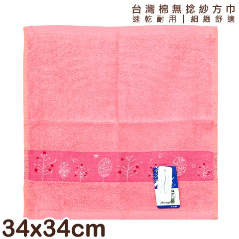 【esoxshop】純棉無捻紗 方巾 橫條樹木款 台灣製 雙鶴 SHUANG HO