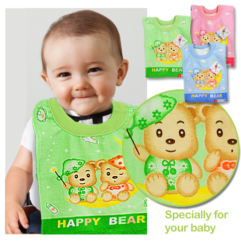 【esoxshop】HAPPY BEAR 快樂熊套頭圍兜│膨鬆柔軟│精美印花《圍兜兜/兜巾/小毛巾/口水巾》