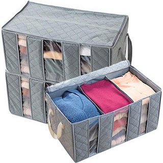 日本暢銷竹炭衣類整理袋(小)收納箱/透明視窗整理箱/收納盒(65L大容量)【DW140】◎123便利屋◎
