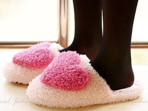 珊瑚絨愛心室內拖鞋 毛茸茸室內拖 絨毛保暖鞋 居家地板綿拖鞋【DM172】◎123便利屋◎