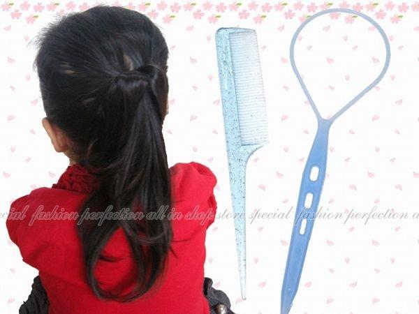 林葉亭推薦 花樣盤髮器.花樣穿髮棒.編髮棒.髮飾編織器.編髮器+尖尾梳2入(彩色款)-小(兒童)18543【EI410】◎123便利屋◎