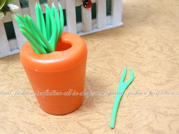 超可愛的『紅蘿蔔』造型水果叉 造型蔬菜水果叉子 10入【DY233】◎123便利屋◎