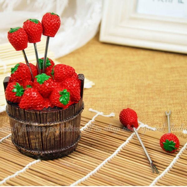 超可愛的造型水果叉 『草莓 櫻桃 愛心』三種造型叉子 結婚小禮品禮物【DI450】◎123便利屋◎