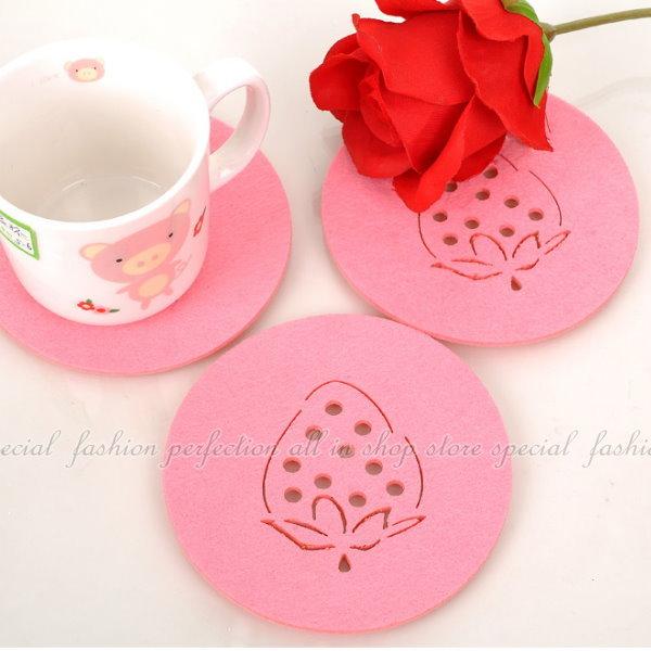 簡易 草莓杯墊 不織布草莓造型杯墊【GN238】◎123便利屋◎