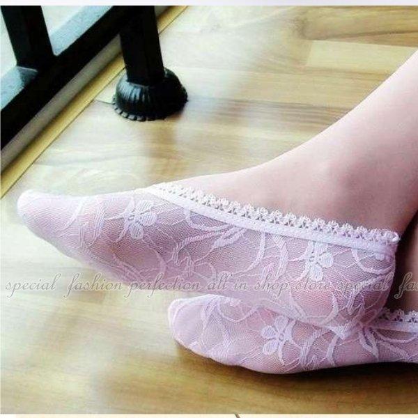 蕾絲隱形襪 隱形船形襪 淺口隱形襪 女船襪 短襪鏤空蕾絲面 無痕隱形襪 棉質淺口襪【DV258】◎123便利屋◎