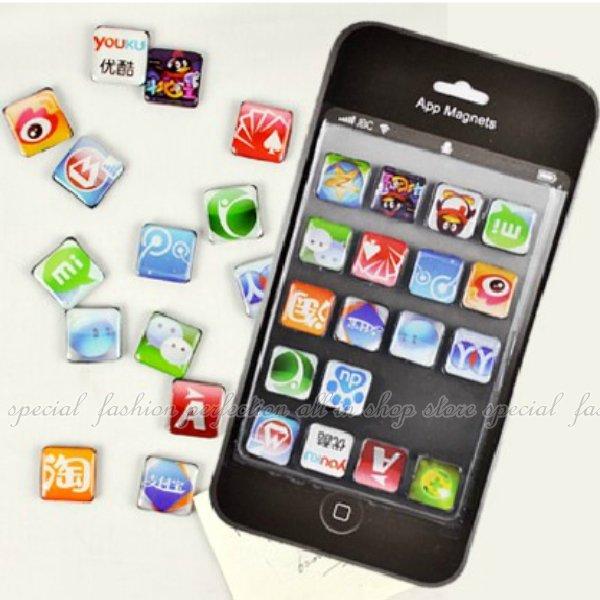 ◎123便利屋◎【DR271】仿真IPHONE APP造型功能圖示按鍵磁鐵-聊天工具版 冰箱磁貼 冰箱貼 便條貼 (18入)