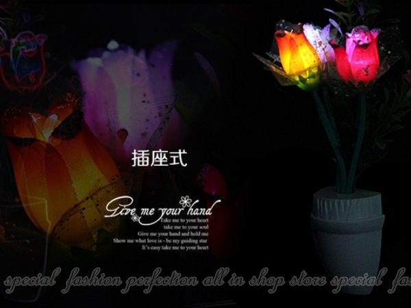 光控花朵小夜燈 LED光控感應式壁燈 感應節能 插電床頭燈【DA485】◎123便利屋◎