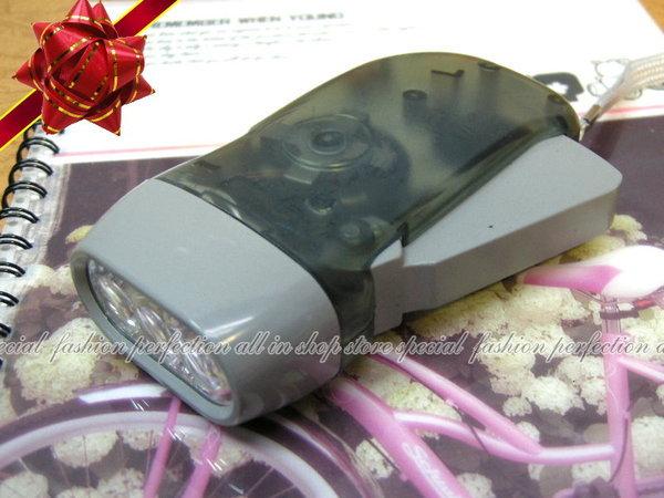 兩用手電筒3 LED 手壓式發電+電池發電手電筒 (不挑色)【DA380】◎123便利屋◎