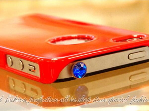 耳機孔 寶石 水晶 防塵防水塞 水鑽耳機塞 iPhone4 3 ipad2 iphone4 4S HTC【DY208】◎123便利屋◎