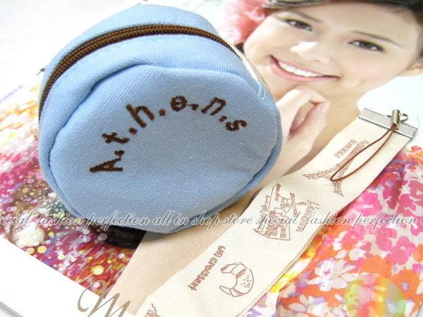 韓國簡約彩色圓形帆布零錢包 簡約收納包 零錢拉鍊 收納袋 糖果零錢包(不挑)【DI204】◎123便利屋◎
