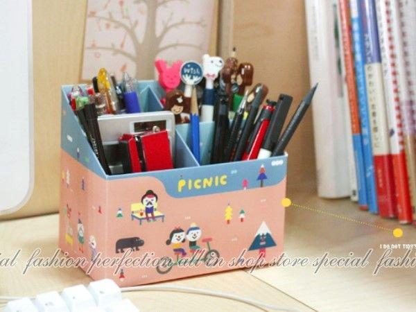 韓版『4格筆筒-腳踏車』桌面文具收納盒 筆筒 鉛筆筆盒DIY組裝【DL340】◎123便利屋◎