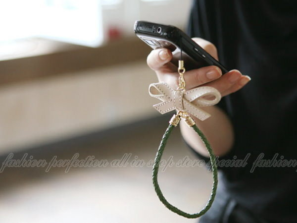 韓版 皮革大蝴蝶結手機鏈/手機吊飾/手機掛件/掛飾【DN287】◎123便利屋◎