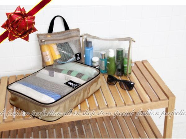 PACK78點鐘衣物行李箱分類收納袋3件組 收納包 透視收納旅行袋 包中包【DR158】◎123便利屋◎