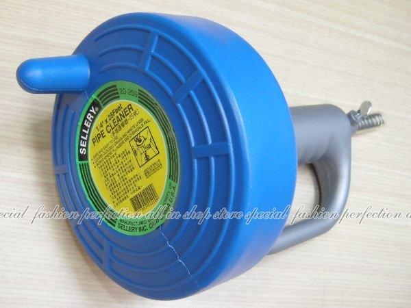 毛髮水管疏通器(25呎)馬桶不通,水管堵塞,手搖通管器,捲式收納,360度旋轉 20-209【GD460】◎123便利屋◎
