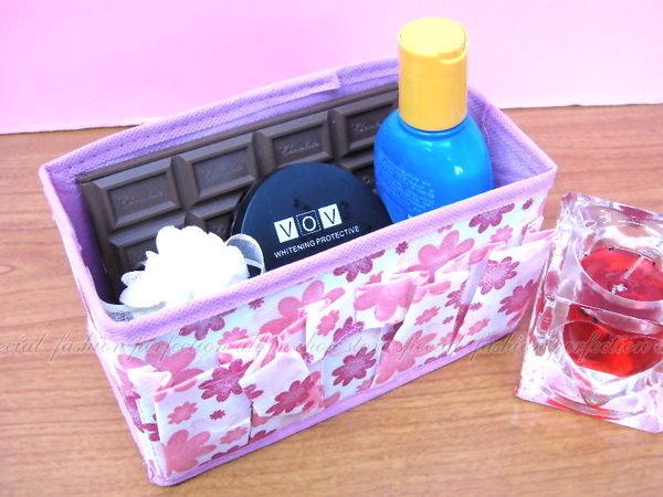 花朵化妝品收納盒 無紡布 可折疊 化妝盒 好收納【GC310】◎123便利屋◎