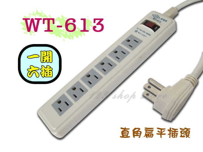 WT-613 12尺(3.6m)電腦電源線組3孔插座延長線 1開6插~台灣製造【GL328】◎123便利屋◎