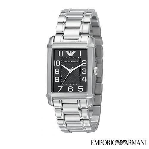 【嚴購網】ARMANI方盤黑菱刻紋不鏽鋼男錶(AR0493)