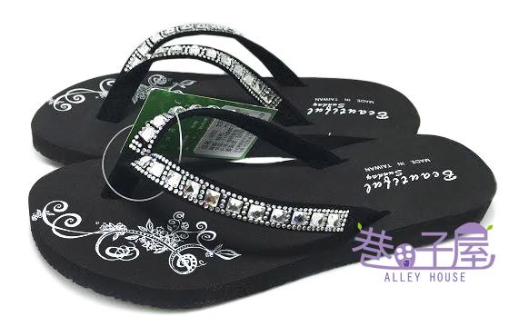【巷子屋】亮鑽圖騰造型夾腳拖鞋 人字拖 [96052] 黑 MIT台灣製造 超值價$100