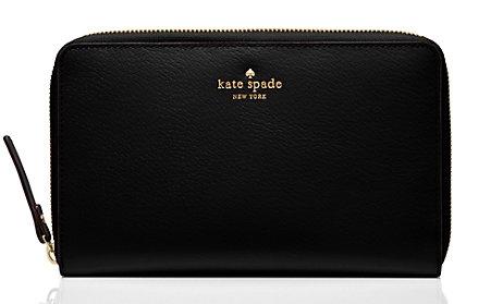 《★美國Kate Spade》Grand street travel wallet 黑色防刮真皮旅行拉鍊長夾 美國代購 平行輸入 溫媽媽