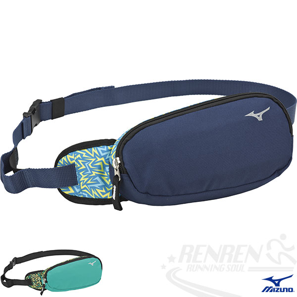 MIZUNO 美津濃 運動用加大腰包(深藍)慢跑 單車適用 反光片