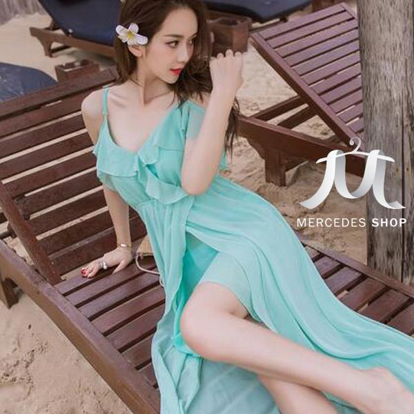 [現貨出清] 波西米亞海灘裙雪紡連身長洋裝-S-L - 梅西蒂絲