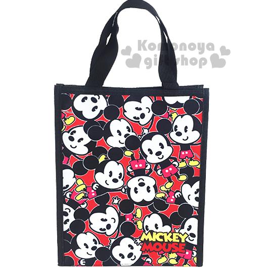 〔小禮堂〕迪士尼 米奇 直式手提便當袋《紅.Q版滿版》輕巧好攜帶
