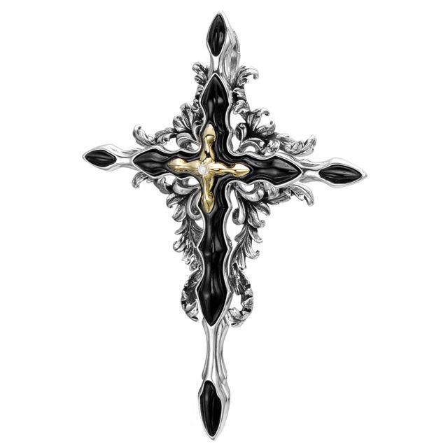 【海外訂購】【Bloody Mary】Fate 巴洛克金色鑲鑽十字架純銀墜飾(BMP1161-sk-glass-Wd  0604240000)