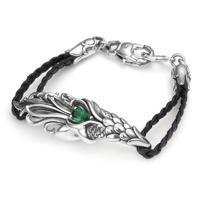 【海外訂購】【Bloody Mary】天之羽 綠石榴石純銀編織手環 (BMB1268-Gg)