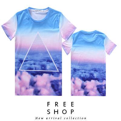 Free Shop【QFSLY2285】日韓美式潮流漸層雲海三角簍空造型滿版圓領棉質短T短袖上衣潮T