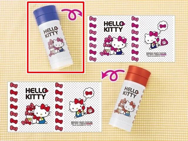 【真愛日本】15100300098 不鏽鋼保溫瓶300ml-點點藍 KITTY 凱蒂貓 三麗鷗 保溫瓶 杯 水壺