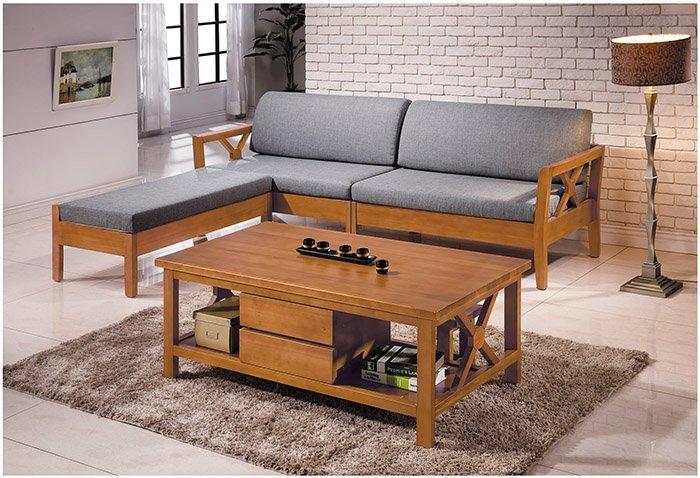 【尚品傢俱】HY-A239-07 采尼柚木色全實木L型沙發 (灰布) (不含大茶几、長椅)