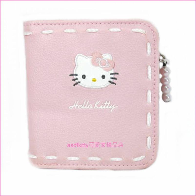 asdfkitty可愛家☆瑕疵出清-KITTY粉色皮夾/短夾/錢包-日本正版商品