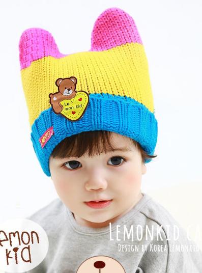 Lemonkid◆秋冬可愛毛絨熊熊雙毛球立體造型保暖兒童針織毛線帽-黃色
