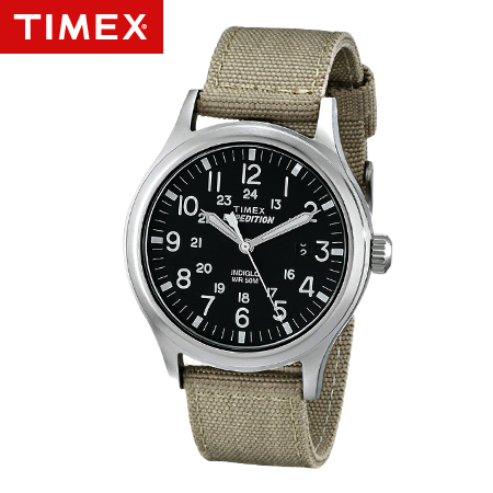 TIMEX天美時腕錶 INDIGLO冷光遠征系列Expedition卡其帆布手錶 柒彩年代【NE1669】原廠公司貨