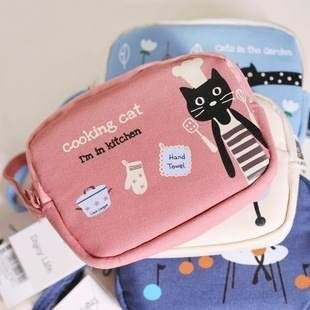 =優生活=《 促銷期間$59 》2015新款可愛小貓咪零錢包 雙拉鍊零錢包 收納包 附小手提帶