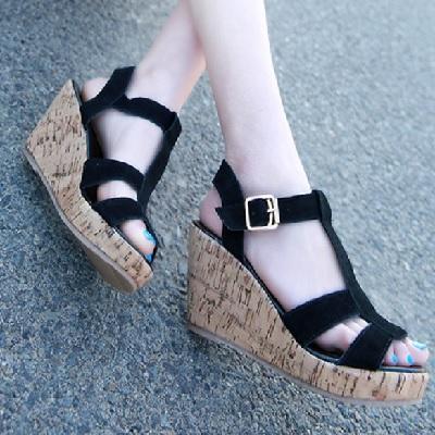 【Bilyan Shoes】預購商品~真皮大尺碼波西米亞風楔型魚嘴涼鞋羅馬鞋休閒鞋女鞋