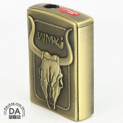 《DA量販店》公牛浮雕 側壓式 電子式 噴射火焰 打火機 可重複填充瓦斯使用 (37-285)