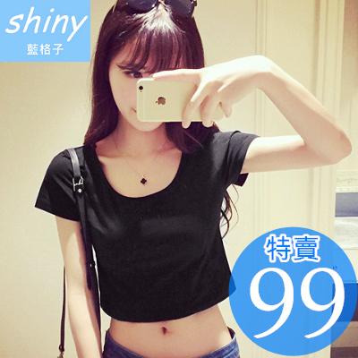 【V0423】shiny藍格子-隨性春意.百搭純色大圓領寬鬆短版T恤